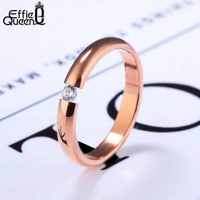 Effie Queen Titanium Men Women Finger Rings Stainless Steel AAA Quality Austrian