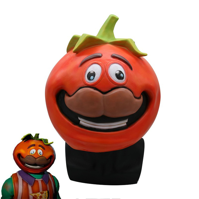 Game Battle Royal Tomatohead Mask Cosplay Prop Latex Full Head Fancy Dress Mask Halloween Accessories