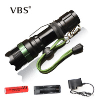 Flashlight CREE Q5 XM L T6 1000lm 2000Lumens LED Torch Zoomable Cree LED Flashlight Torch Light
