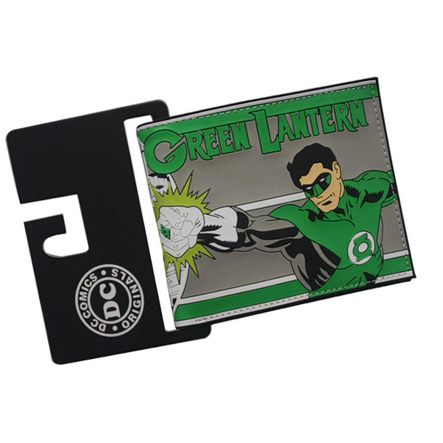 Top Quality DC Cartoon GREEN LANTERN Men Wallets PVC leather Short Slim Embossed wallets  Photo Credit Cards Holders Billeteras green top