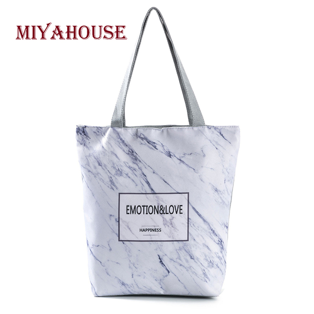 037aafdac6a6 Miyahouse Vintage Design Marble Printed Tote Handbag For Female Canvas Women  Summer Beach Bag Lady Shoulder