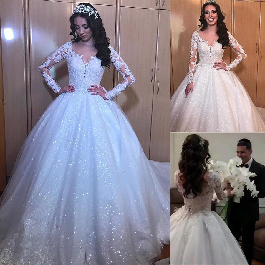 NEW! Alluring Tulle Jewel Neckline Ball Gown Long Sleeves Wedding Dresses With Beaded Lace Appliques Bling Bling Bridal Gowns