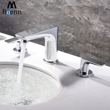 Chrome Dual Handle Bathroom Mixer Faucet Deck Mounted 3 Holes Hot and Cold Water Sink Taps Basin Faucets Brass Hot and Cold  Tap цена в Москве и Питере