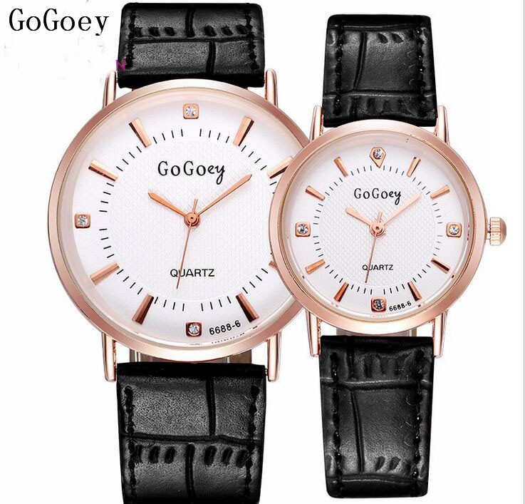 Popular Gogoey Brand Pair Leather Watches Men Women Lovers Crystal Dress Quartz Wristwatches Relogio Feminino 6688-6