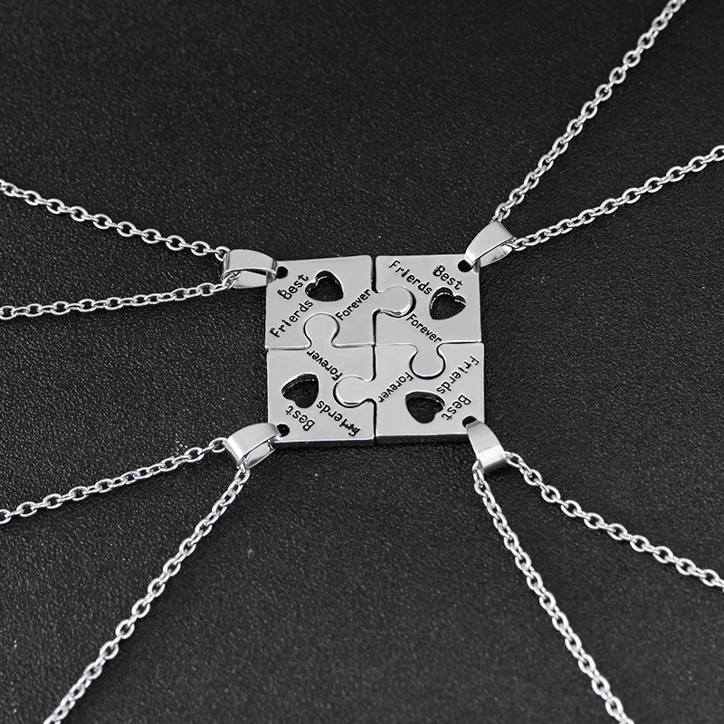 New 4 BEST FRIEND Forever And Ever Jigsaw Puzzle Pendants Necklace Friendship
