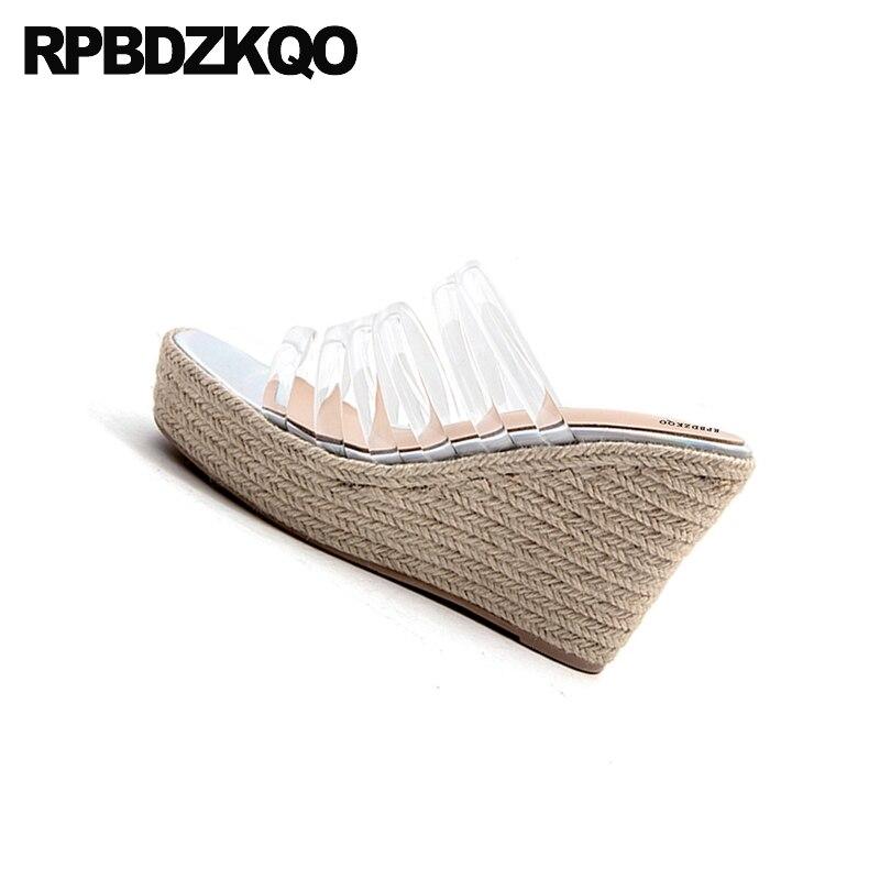 Pumps Slip On Transparent Strap Open Toe Women Fashion Designer Espadrilles 2018 Shoes Platform Wedge Sandals Summer Rope Pvc - 6