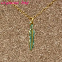 15pcs/lots Verdigris Patina Plated Feather Alloy Charms Pendant Necklaces Jewelry DIY 23.6 inches Chains A-378d