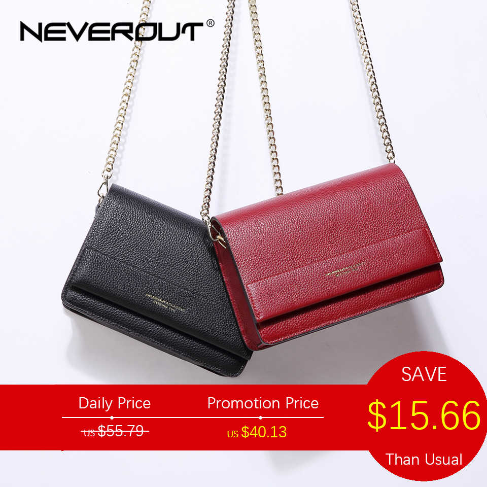 NEVEROUT Soft Genuine Leather Bag for Women Ladies Small Messenger Purse  Solid Flap Shoulder Sac Chain 9d2a2e96aa6f3