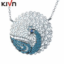KIVN Fashion Jewelry Animal Peacock CZ Cubic Zirconia Womens Girls Bridal Wedding Pendant Necklaces Christmas Birthday