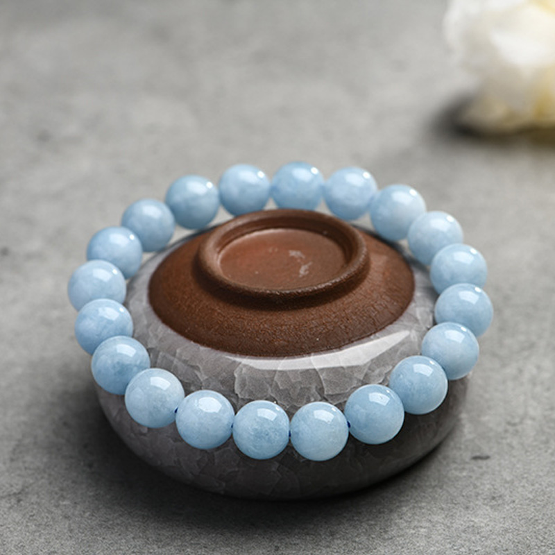 Natural Aquamarine Bracelet Single Circle Crystal Bracelet Jewelry 6-10mm Beads Romantic Casual Crystal Yoga Bracelet