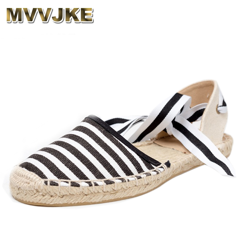 MVVJKE Canvas Espadrille Women Flats Ankle Strap Hemp Bottom Fisherman Shoes For 2018 Spring/Autumn Women Loafers