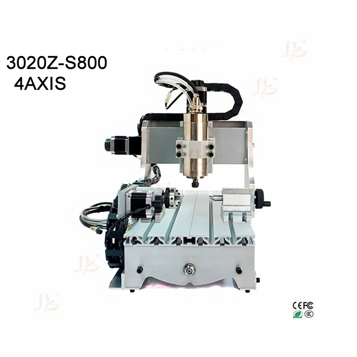 4axis Cheap Small cnc milling machine 3020 engraving machine with 800w Spindle rotary axis for Acrylic Plastic Wood