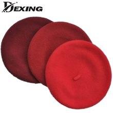 2 to8 años de edad los niños de lana de buena calidad boina Otoño Invierno  lindo negro rojo boina de lana gorra sombrero boinas . c4eee788c9f