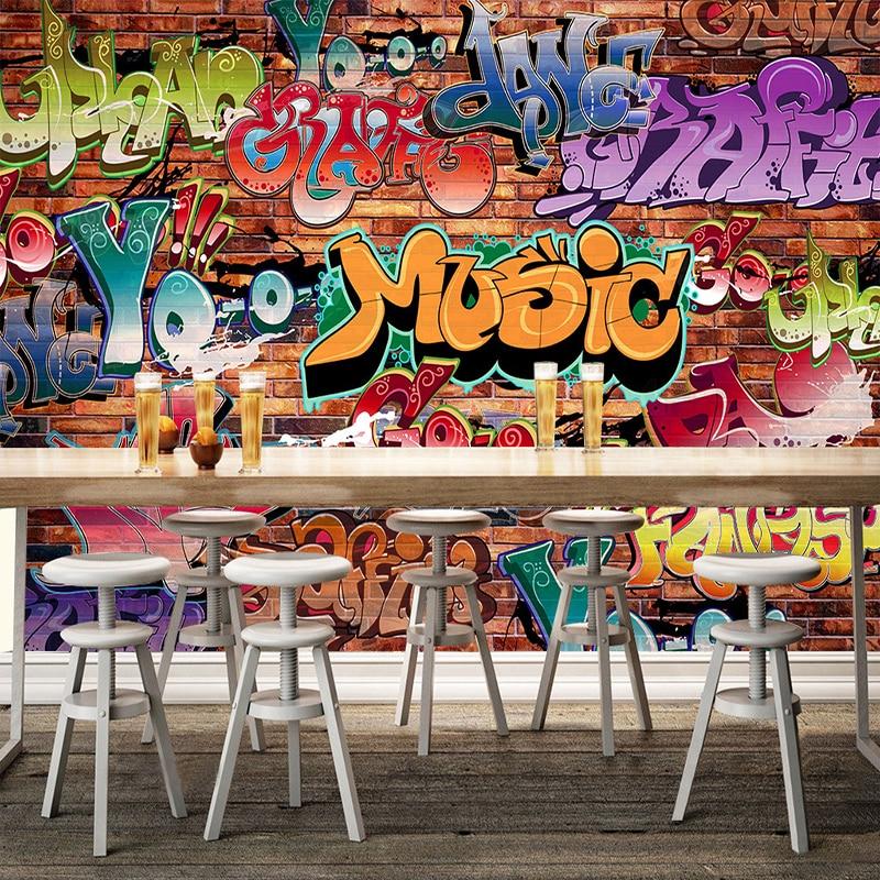 Personalized Customization Street Graffiti 3D Photo Mural Wallpaper Modern Restaurant Clubs KTV Bar Entertainment Place 3D Mural