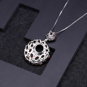 Image 3 - GEMS BALLET Natural Red Garnet Gemstone Vintage 925 Sterling Sliver Pendant Necklace For Women Gift Party Jewelry