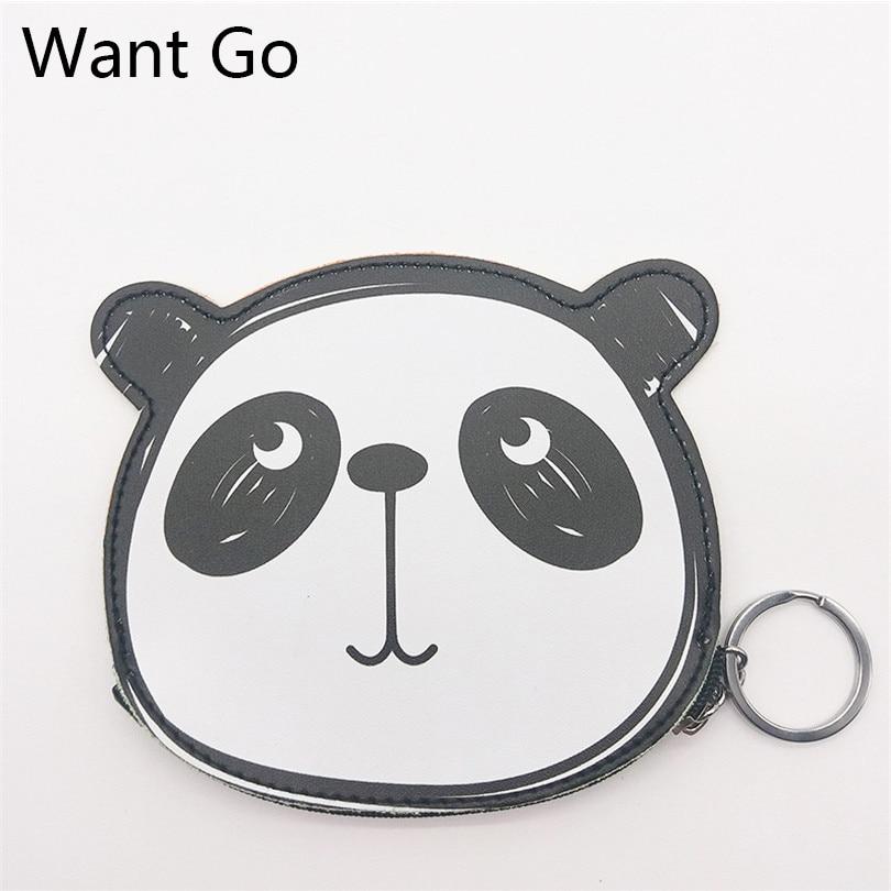 Want Go Cute Panda Cartoon Zipper Coin Purse Soft Pu Leather Change Storage Bag Girls Daily Use Small Change Mini Wallet Bags