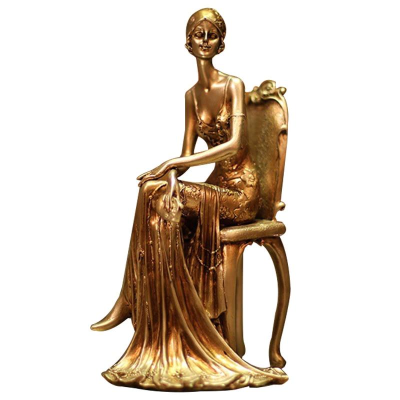 Europe Elegant Lady Miniature Model For Home Decoration Vintage Cooper Resin Ornaments Desk Decor Lover Gifts Figurines Crafts