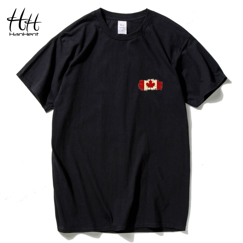Hanhent streetwear men cotton t shirt leaves brand for Made in canada dress shirts