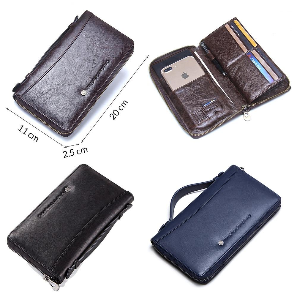 Genuine Leather Men Clutch Wallet  Brand Male Card Holder Long  Zipper Around Travel Purse With Passport Holder 6.5 3