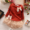 New Casual Girls Top Kid Lace Double Bow Floral Lovely Princess Long Sleeve Warm Knitted Dress 3M-2Y Clothes Baby Girl Dress