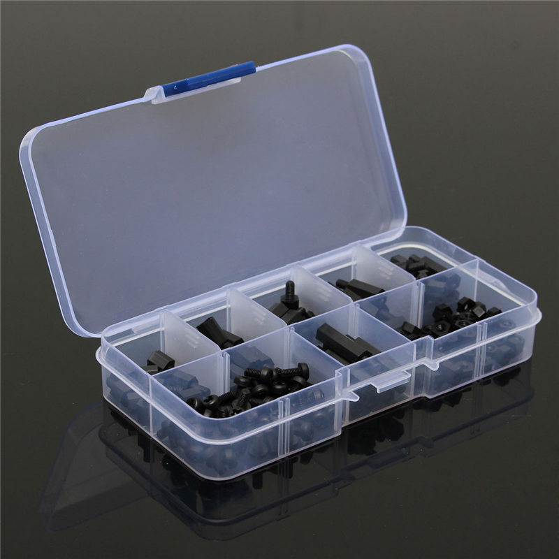 MTGATHER 180Pcs/Set M3 Nylon M-F Hex Spacers Screw Nut Assortment Kit Stand Off Set Box M3 Nylon Black Hex Screw mystery mtv 970 9 16 9