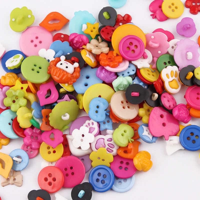 50 sztuk mieszane kolor mieszany wzór plastikowe kreskówki tkaniny przyciski akcesoria do biżuterii guzikiem DIY hurtownia