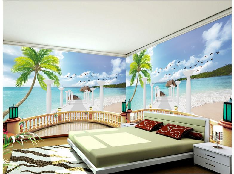 Custom 3d wallpaper 3d wall murals wallpaper the balcony for 3d aquarium wallpaper for bedroom