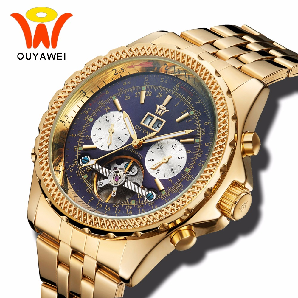 Mens luxury Gold Tourbillon Mechanical Watch Men Ouyawei Automatic Skeleton Waterproof Wrist Watches Auto Date Month Day Clock