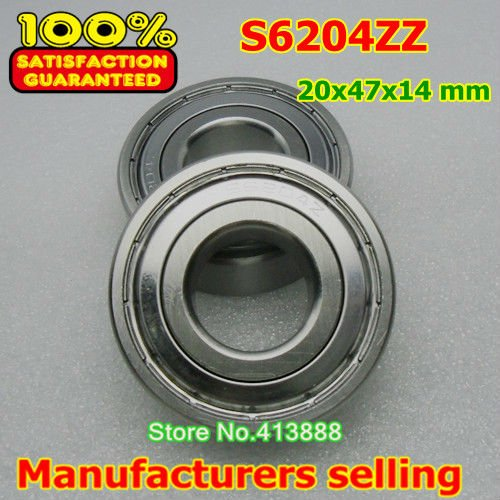 2pcs Free Shipping SUS440C environmental corrosion resistant stainless steel deep groove ball bearings S6204ZZ 20*47*14 mm gcr15 6326 zz or 6326 2rs 130x280x58mm high precision deep groove ball bearings abec 1 p0
