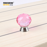 30mm 1pack 10 Pcs Pink Ball Shape Crystal Glass Drawer Cabinet Knob Pull Handle Kitchen Door