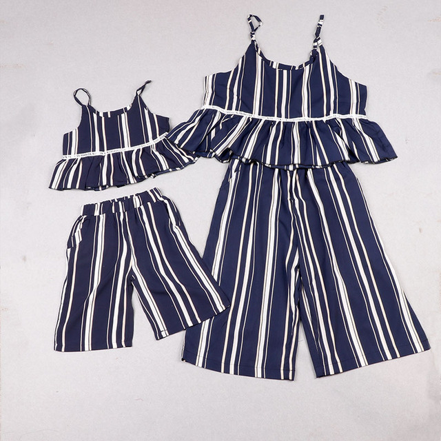 a4e748898 YorkZaler Mother And Daughter Match Clothes Set Summer Chiffon Striped  Family Look Girls And Mom Same Look Sets Kids Clothing