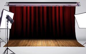 Image 3 - Fondo de cortina de escenario Rojo Negro estratificado fondos de estudio de fotografía 5x7ft stand Shoot Props