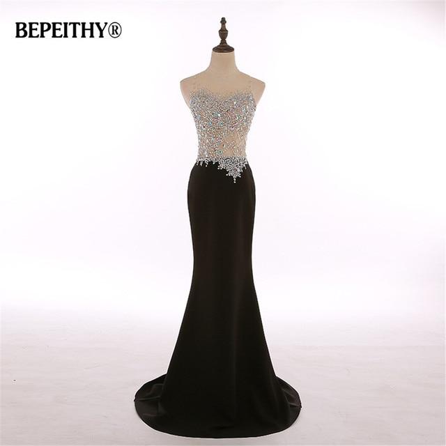 Fotos reales cuello redondo cristal corpiño sirena negro largo vestido De noche  fiesta elegante bata De 42c011a02c14