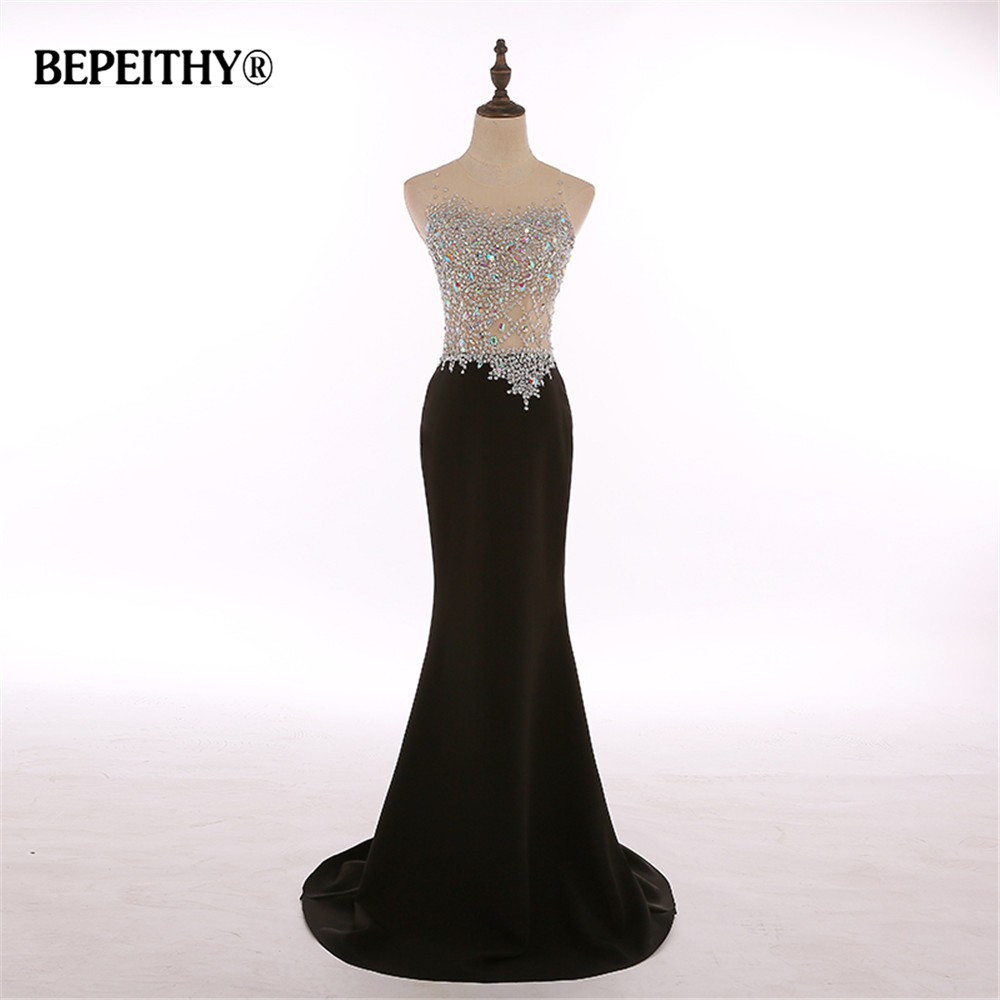 Real Photos O Neck Crystal Bodice Mermaid Black Long Evening Dress Party Elegant Robe De Soiree Cheap Bride Dresses 2020 New