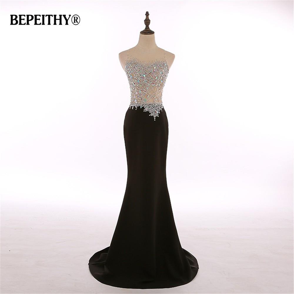 Real Photos O Neck Crystal Bodice Mermaid Black Long Evening Dress Party Elegant Robe De Soiree Cheap Bride Dresses 2020 New