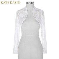 Cheap Black White Lace Bridal Boleros Wedding Jackets For Women Bride Long Sleeve Cropped Wrap Shrug