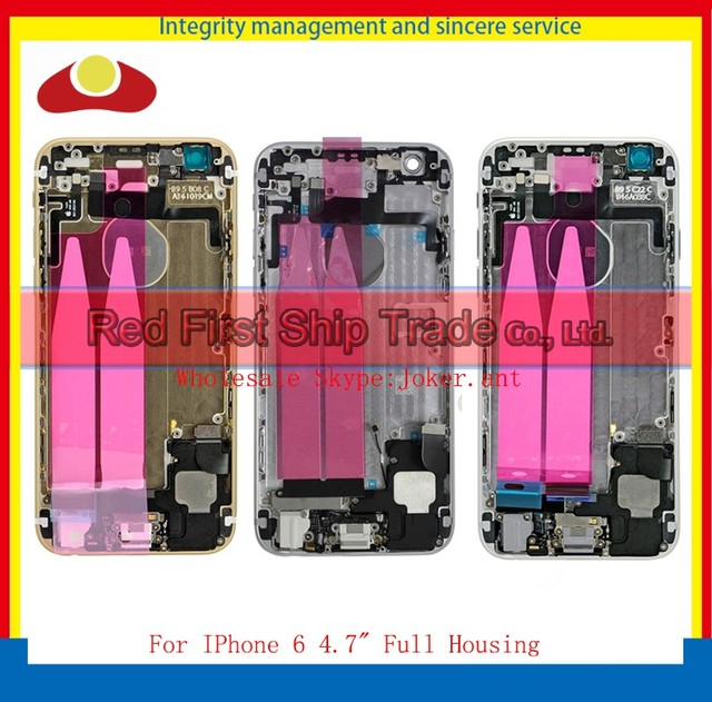 """50Pcs/lot DHL EMS Replacement For IPhone 6 4.7"""" Back Cover Battery Full Housing Frame Chassis Assembly Complete With Flex Cables"""