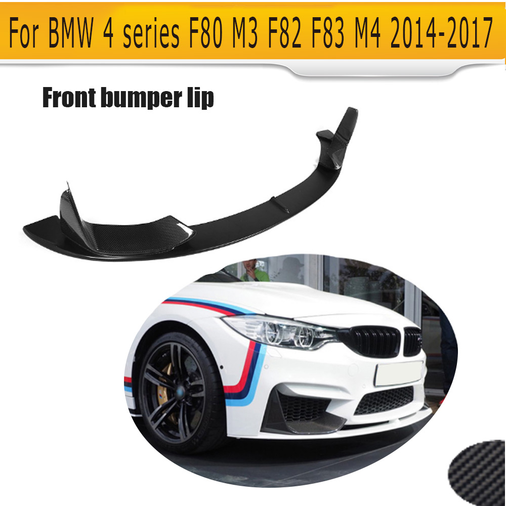 carbon fiber car front bumper lip spoiler With splitters for BMW 4 series F80 M3 F82 F83 M4 bumper 14-17 Black FRP P style olotdi carbon fiber front lip spoiler gts style front bumper for bmw e92 e93 m3 bumper car styling accessories factory