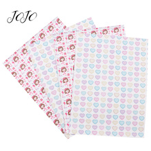 JOJO BOWS 22*30cm 1pc Faux Synthetic Leather Fabric For Needlework Heart Mermaid Printed Sheet For DIY Bow Home Textile Decor jojo bows 22 30cm 1pc synthetic leather fabric for crafts mermaid printed faux sheet for needlework bag apparel sewing materials