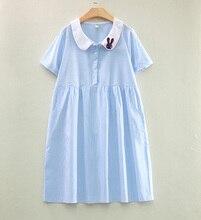 2018 New Summer Long Design Peter Pan Collar Long Short Sleeve Maternity Shirt Dress Button Pregnancy