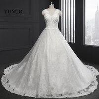 Wedding Dress 2017 Luxury V Neck Sleeveless Wedding Bridal Gowns Appliques Beaded Vestido De Noiva Long