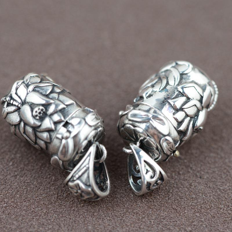 Gerçek 925 Ayar Gümüş Buda Lockets Yüzer Mantra Lotus Kolye - Kostüm mücevherat - Fotoğraf 5