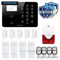 HOMSECUR 433 МГц 4 г беспроводной Главная охранной 3g охранной сигнализации GSM система сигнализации PIR сенсор с термометры
