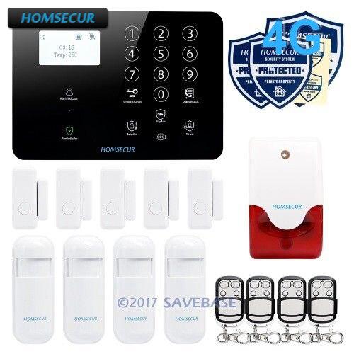 HOMSECUR 433 Mhz 4G sans fil maison cambrioleur sécurité 3G alarme de sécurité GSM système d'alarme capteur PIR avec capteur de température
