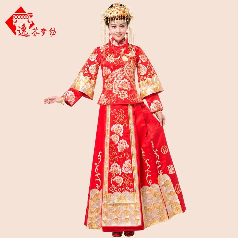 2017 nouveau mariage chinois cheongsam rouge broderie palais vêtements mariée cheongsam longue section Dragon robe robe de mariée vêtements