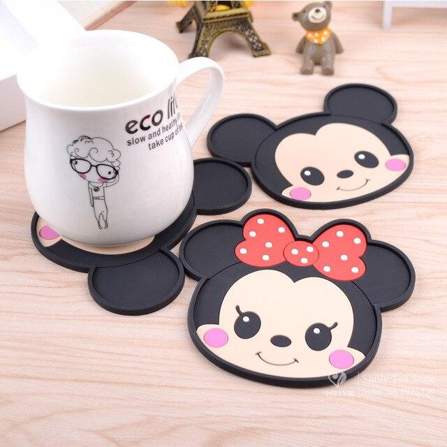 Mickey Mouse de silicona accesorios de cocina mesa de comedor manteles coaster café bebidas copa bar taza coaster manteles cojines de las esteras
