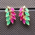 Fashion Jewelry Leaf lab-created Ruby&Emerlad Champagne Gold-Plated Earrings E08-3