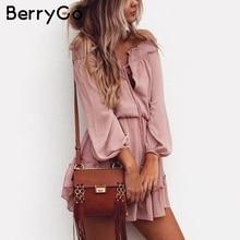 BerryGo Off shoulder long sleeve beach summer dress Short chiffon vintage dress women Ruffle sexy dress vestido de festa