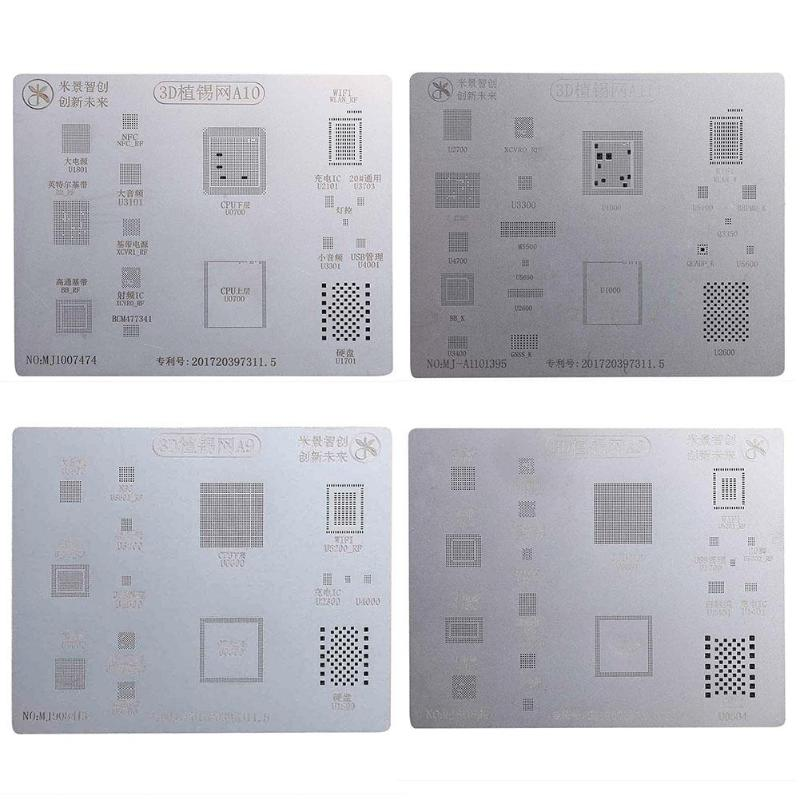 Metal 3D IC Chip BGA Reballing Solder Template Stencil Tin Plate Reapir Tool for iPhone 6S/7Plus A8 A9 A10 A11 Stencil Tin Plate