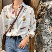 Ample Style rétro début fleur imprimé chemise femmes chemises vêtements Kawaii Ulzzang Vintage femme Punk Harajuku tunique pour les femmes